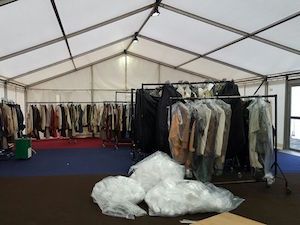 Outlander wardrobe marquee at Holyrood Park