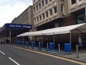 Temporary walkway marquee at Queen Street Station Glasgow