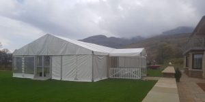 9m x 27m marquee complete with a 3m porch